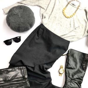 Zara sweater and pinstripe pencil skirt set